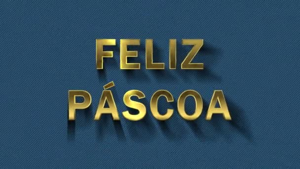 Colored particles turn into blue background and text - Feliz Pascoa