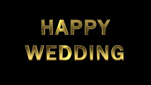 Gold letters collecting from particles - Happy Wedding