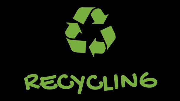 Animated recycling logo with green slogan - Recycling