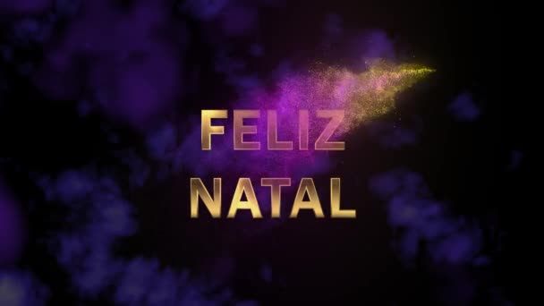 Magical sparkling particles. Appearing golden letters Feliz Natal