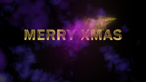 Magical sparkling particles. Appearing golden letters Merry Xmas