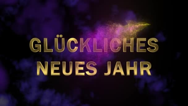 Magical sparkling particles. Appearing golden letters Gluckliches Neues Jahr
