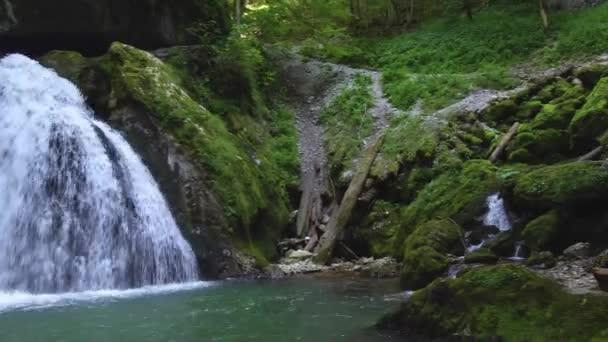 View of Galbena gorge and waterfall at daytime