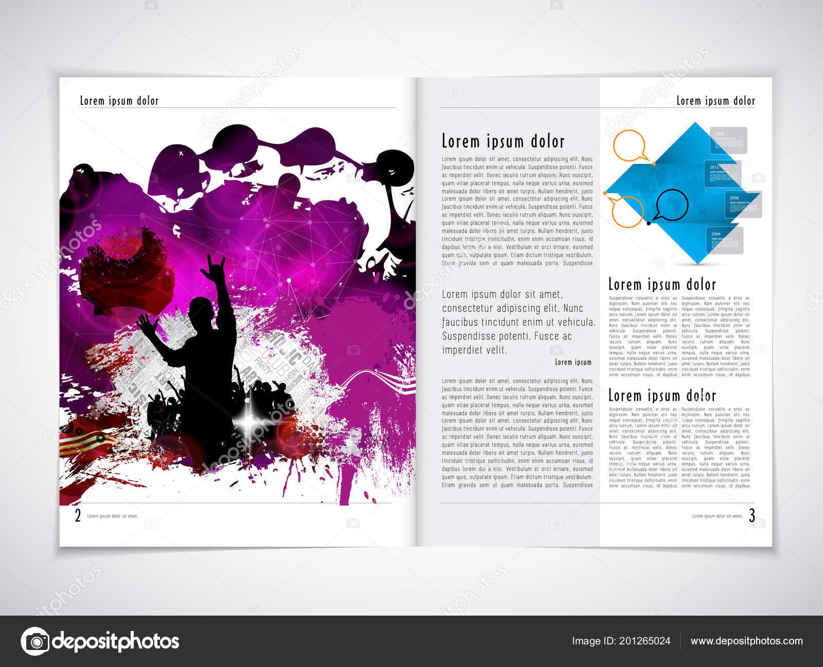 music magazine brochure layout easy editable stock vector
