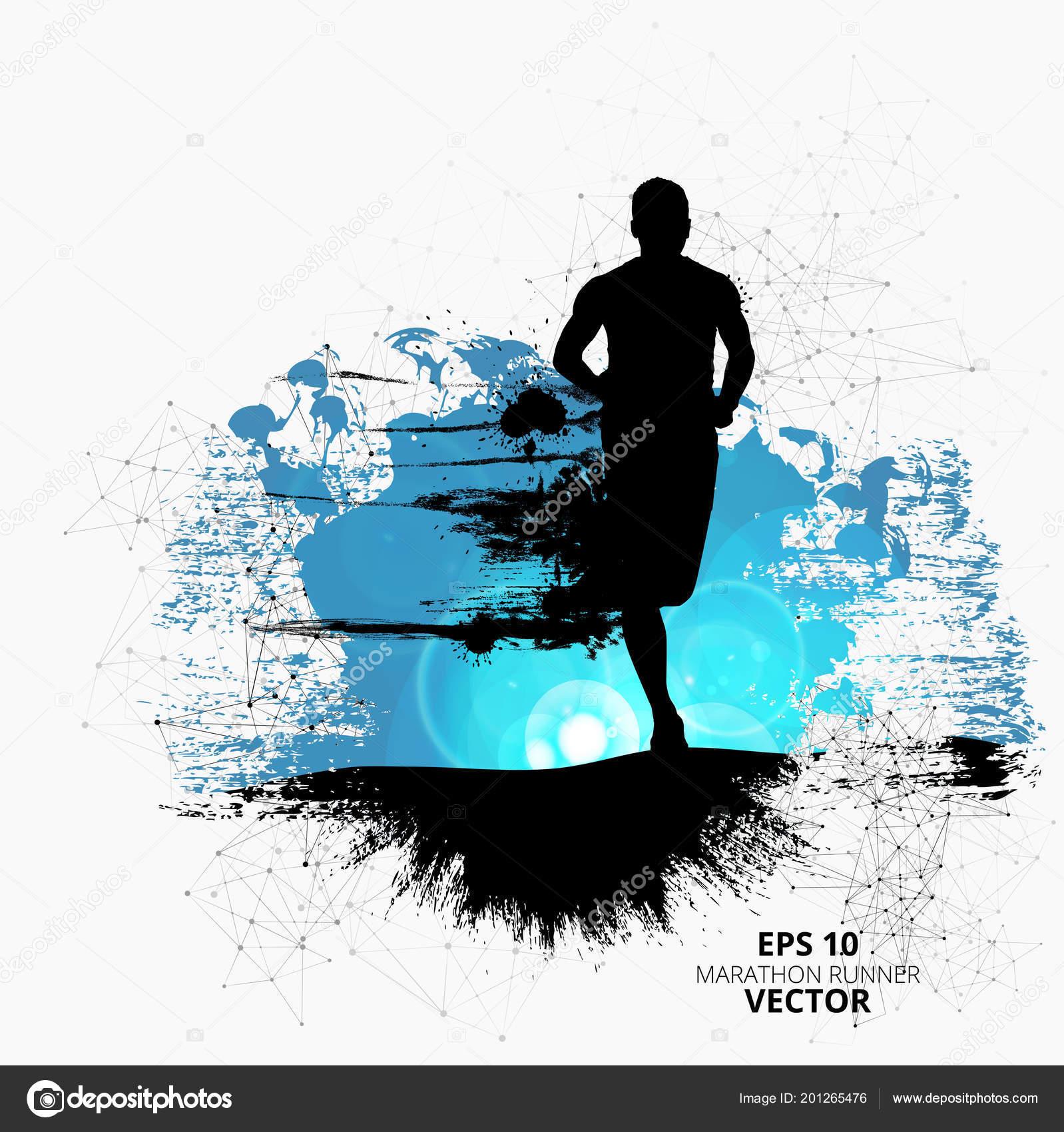 silhouette marathon runner vector illustration stock vector c zeber2010 201265476 https depositphotos com 201265476 stock illustration silhouette marathon runner vector illustration html