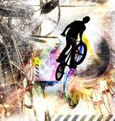 Photo Silhouette of a bicycle rider, vector illustration.