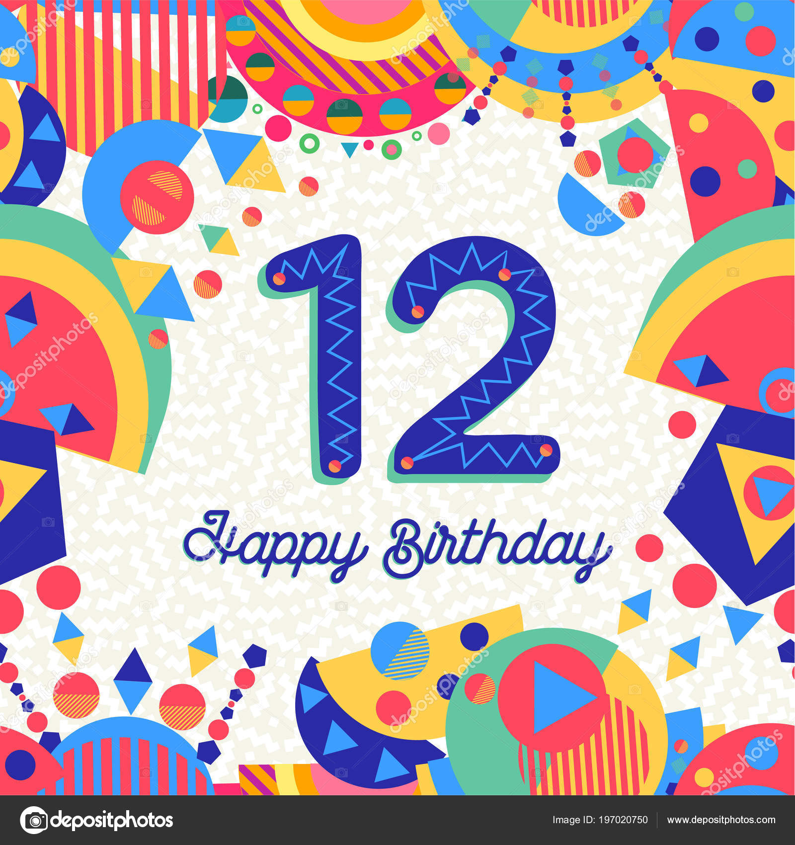 Fonkelnieuw Happy Birthday Twelve Year Fun Design Number Text Label Colorful YO-86
