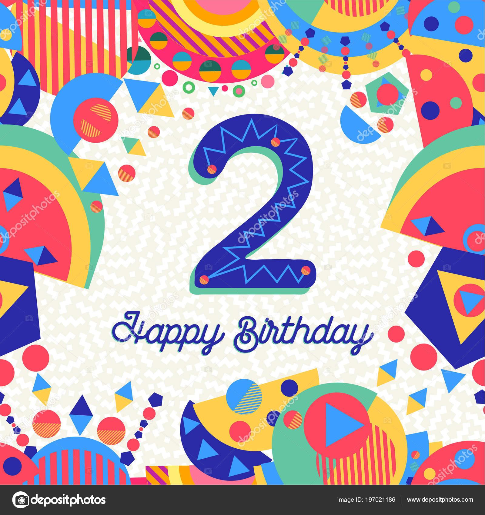 Gelukkig Verjaardag Twee Jaar Plezier Ontwerpen Met Nummer