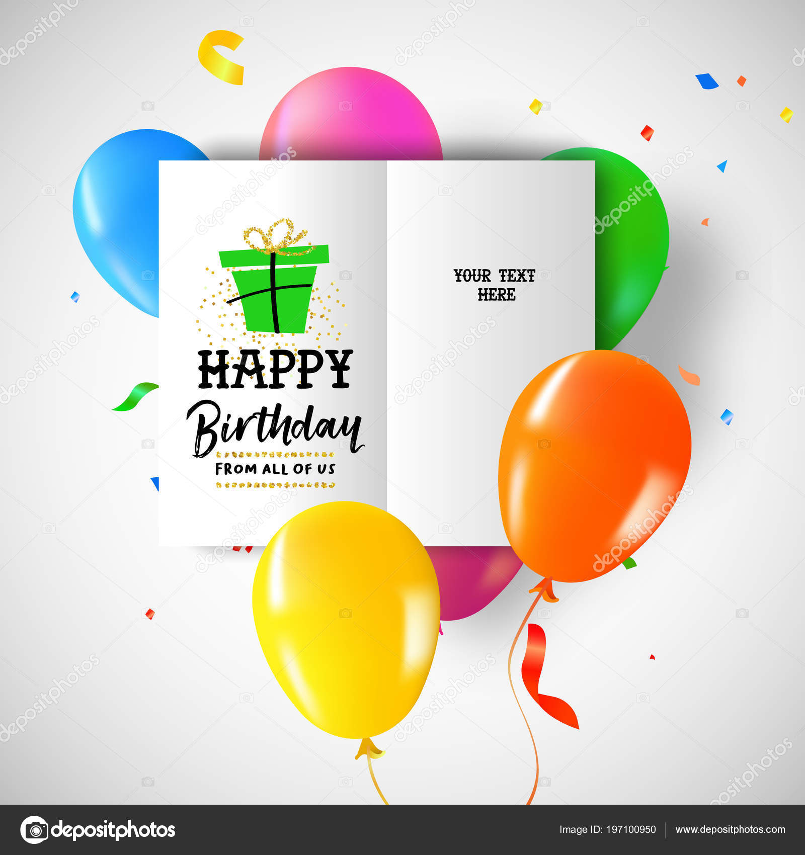 Happy Birthday Greeting Card Colorful Party Balloons Confetti