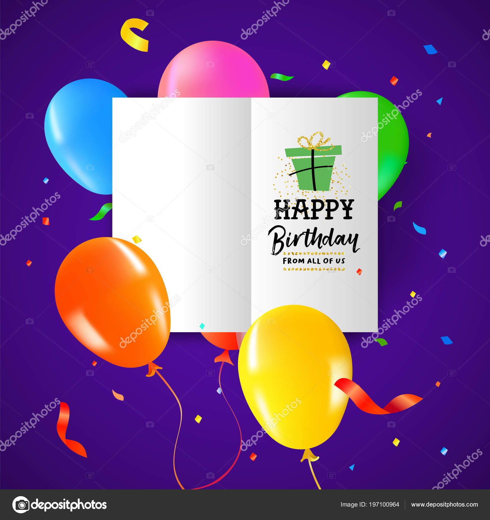 Birthday Balloons Paper Card Colorful Party Confetti Decoration Text Quote Stock Vector