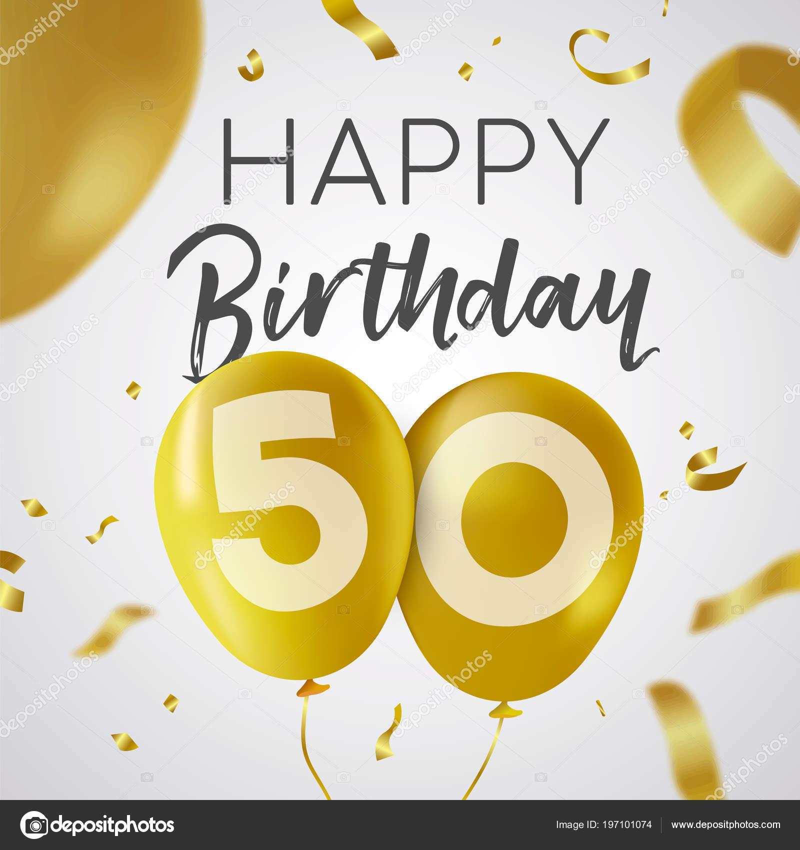 Joyeux Anniversaire Cinquante Ans Design Luxe Avec Nombre Ballon