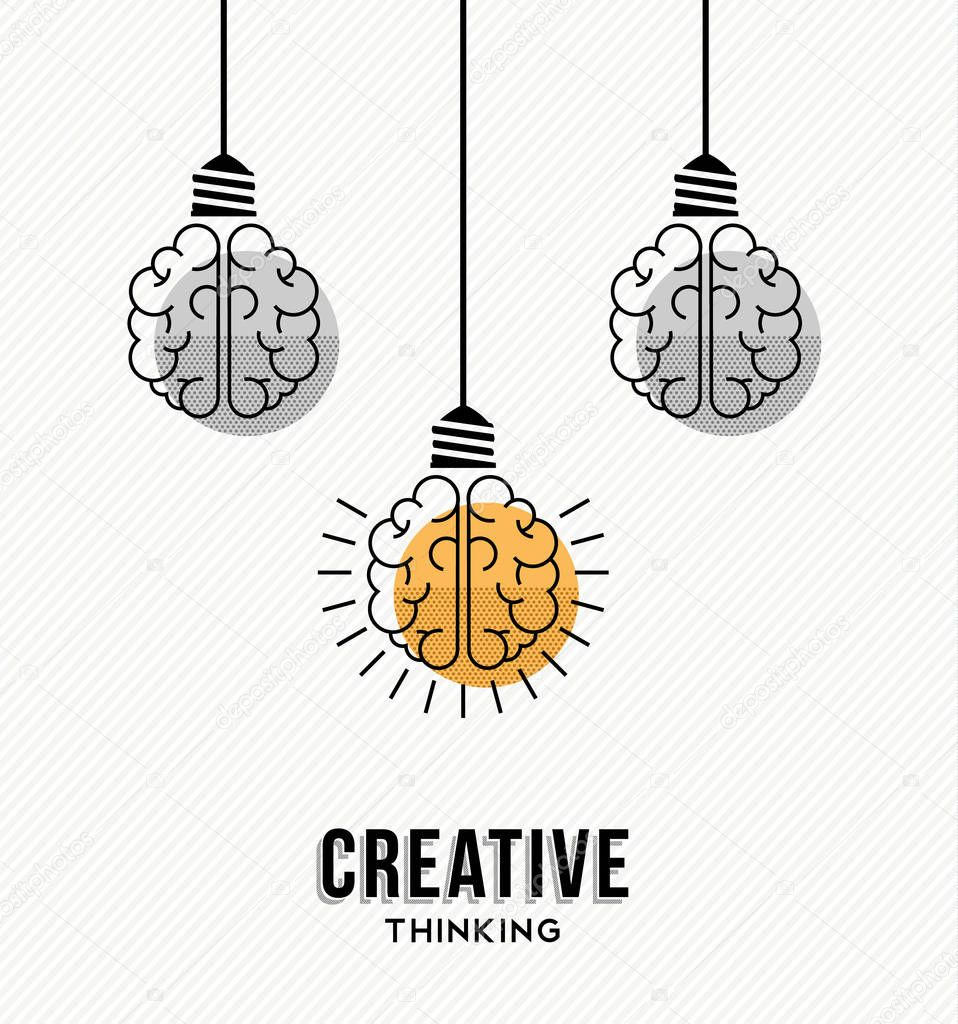 Creative thinking modern design with human brains as colorful lamp light, business creativity concept. EPS10 vector.