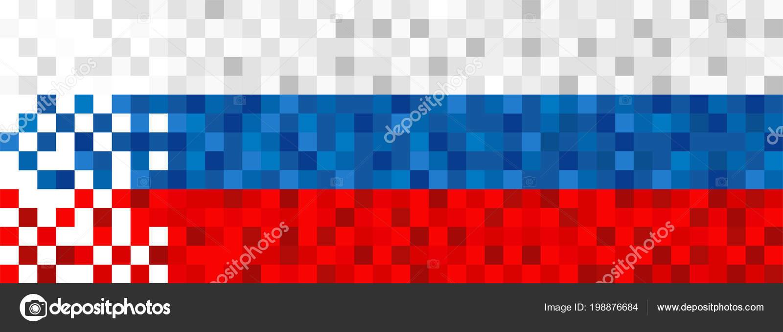 Fond Drapeau Russie Dans Style Pixel Art Conception Bannière