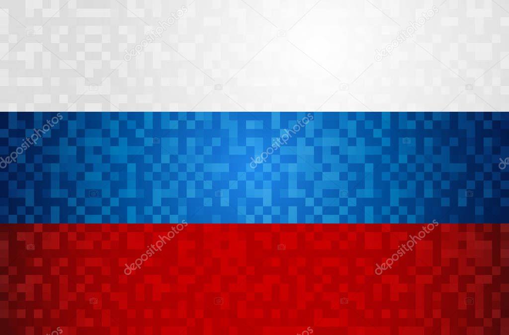 Russie Pixel Art Fond Drapeau Pays Modèle Couleur Russe