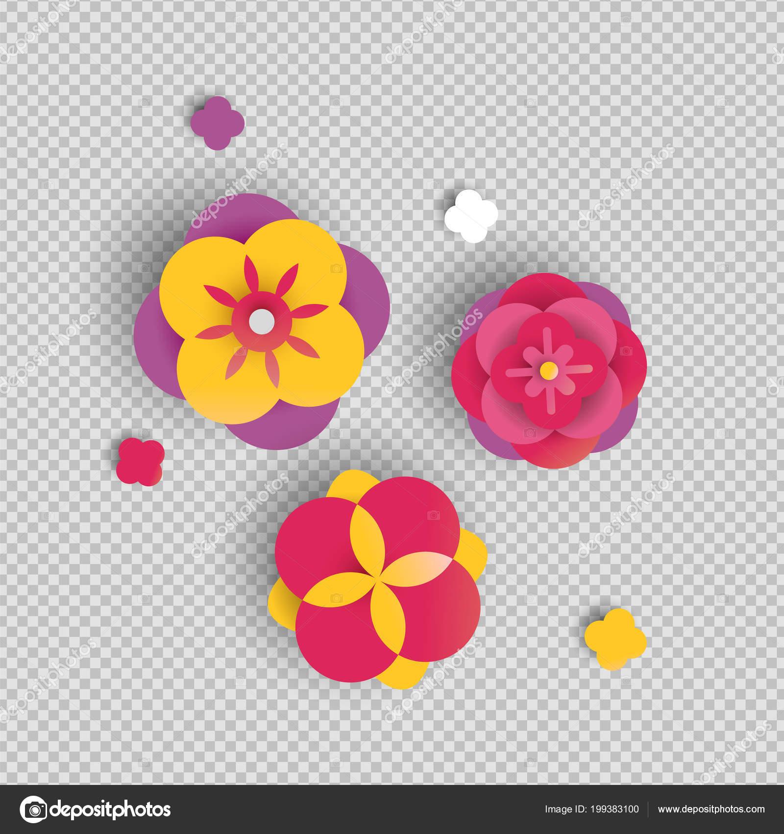 Fleur Papier Sur Fond Transparent Papercut Isole Rose Fleurs Couleur