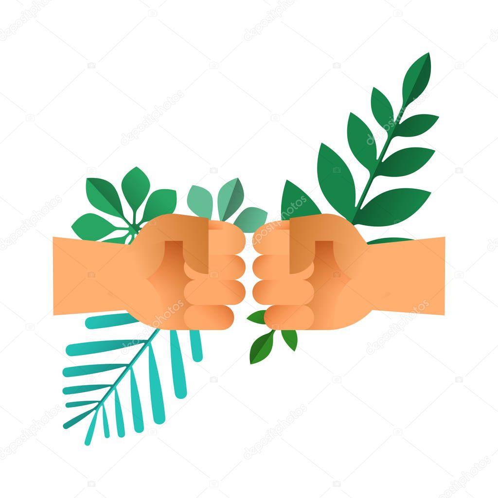 Fist bump hands with green leaves on isolated background. Nature help teamwork concept or environment conservation team illustration. EPS10 vector.