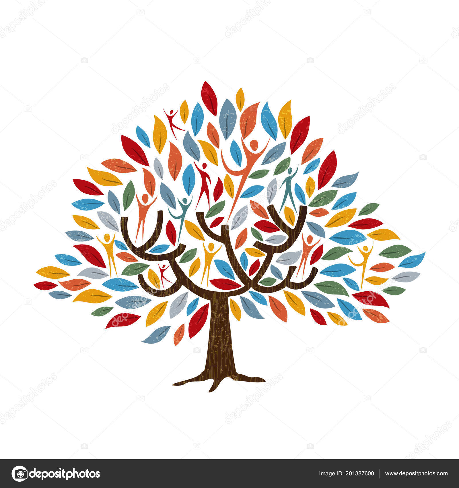 Family Tree Symbol People Color Leaves Concept Illustration
