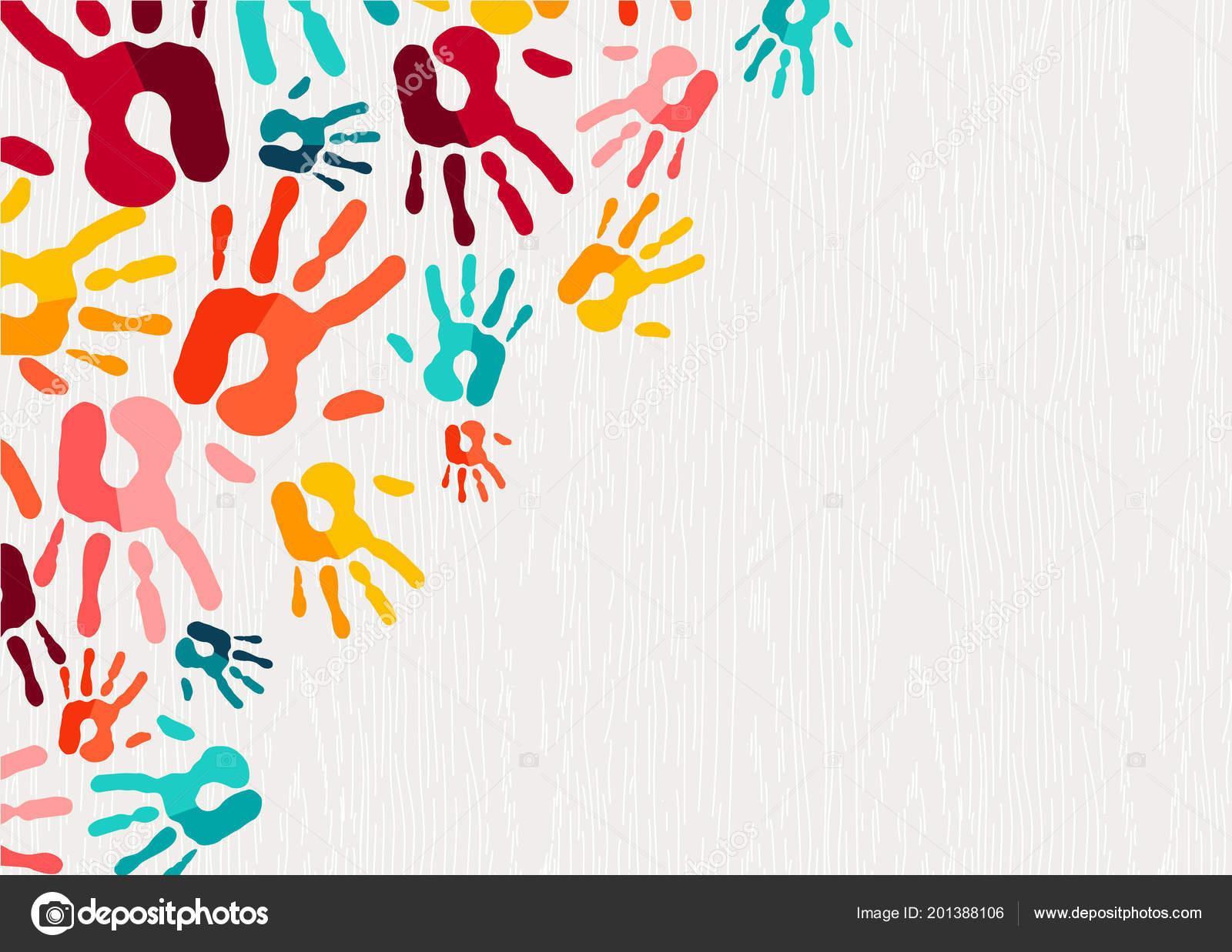 Handabdruck Hintergrund Farbkonzept Menschliche Hand Drucken