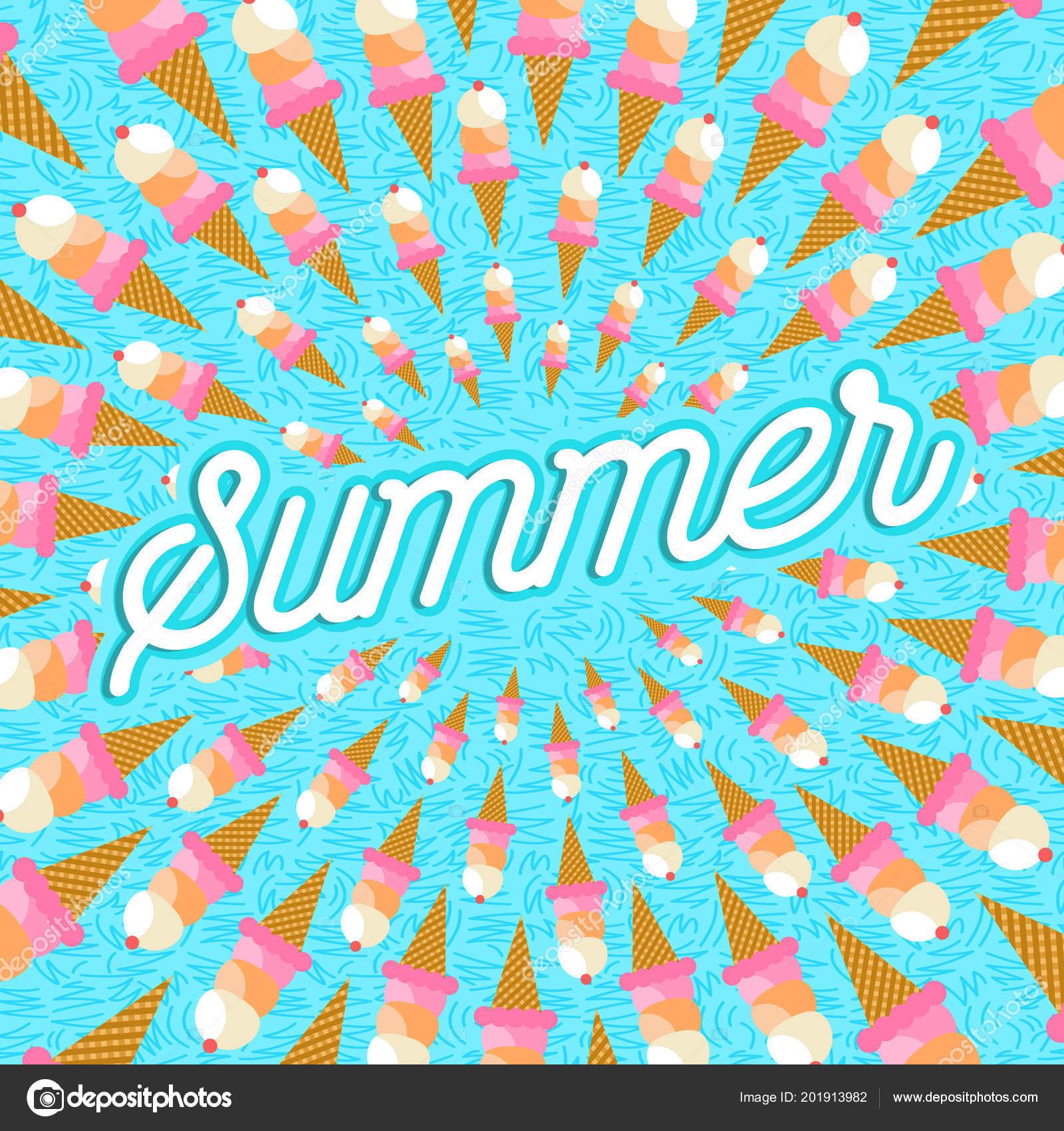 Beautiful Happy Summer Greeting Card Design Ice Cream Dessert Typography Quote U2014  Stock Vector