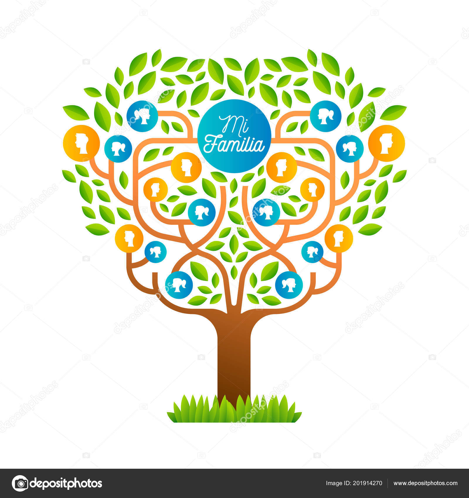 Big Family Tree Template Spanish Language Illustration Concept