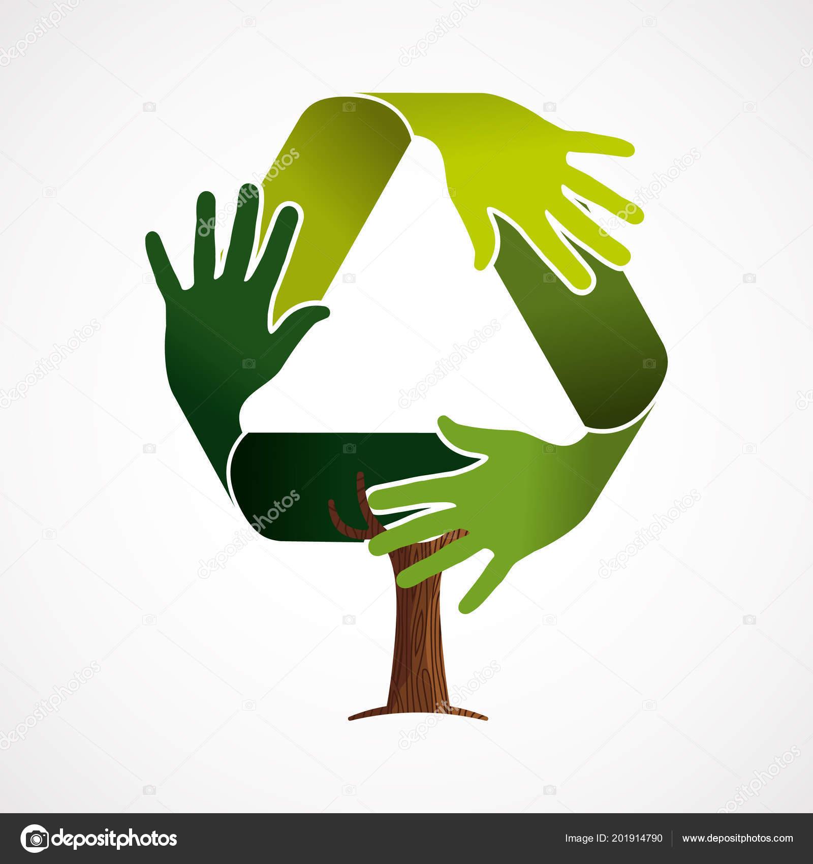 Albero Fatto Mani Umane Verde Nel Simbolo Riciclo Concetto Aiuto