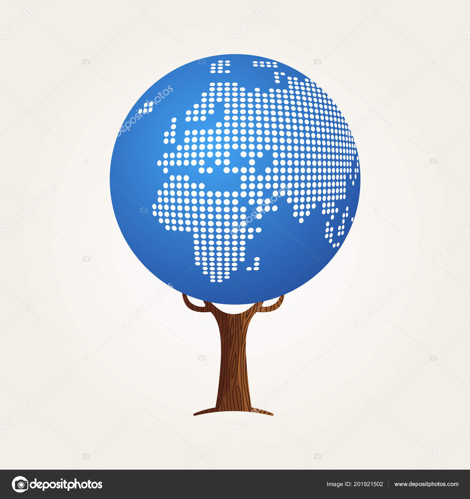 Tree Made Europe Africa World Map Concept Illustration Global ...