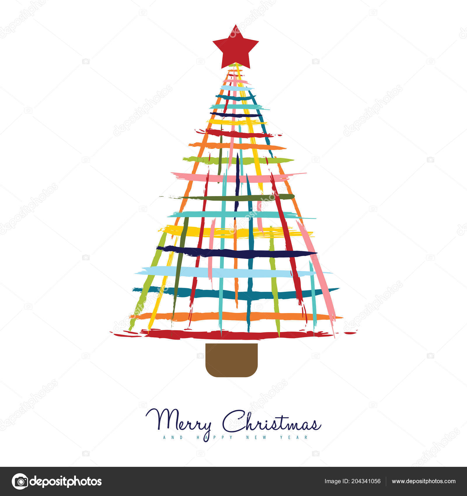 Colorful Merry Christmas Greeting Card Design Fun Color Xmas Pine