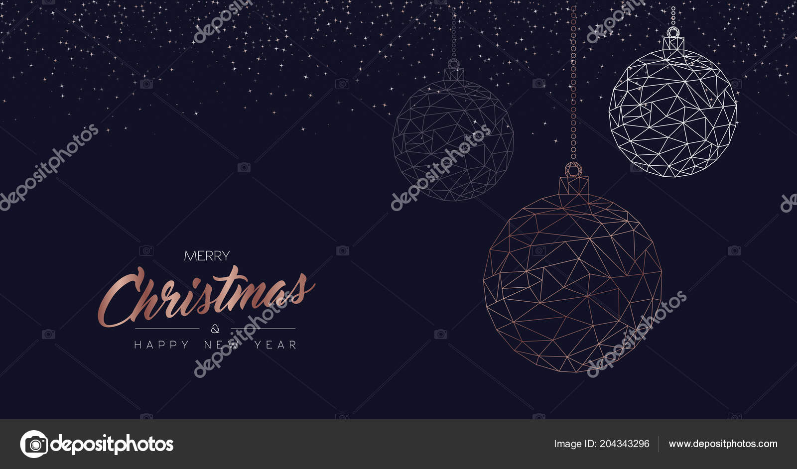 merry christmas happy new year web banner luxury xmas ornament stock vector