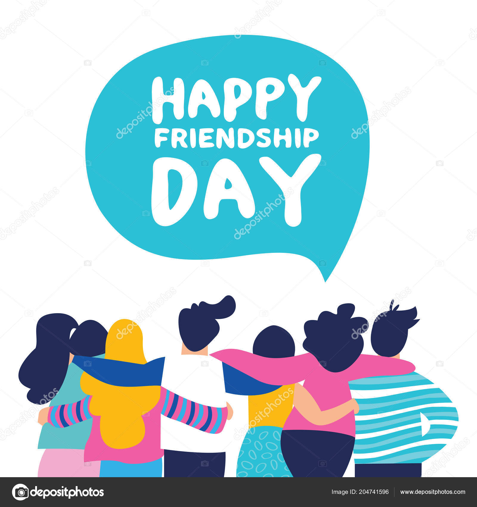 Happy Friendship Day Greeting Card Diverse Friend Group People