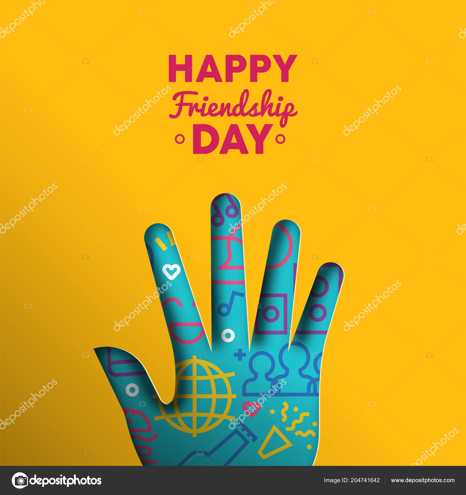 Happy Friendship Day Greeting Card Illustration Paper Cut Hand Shape
