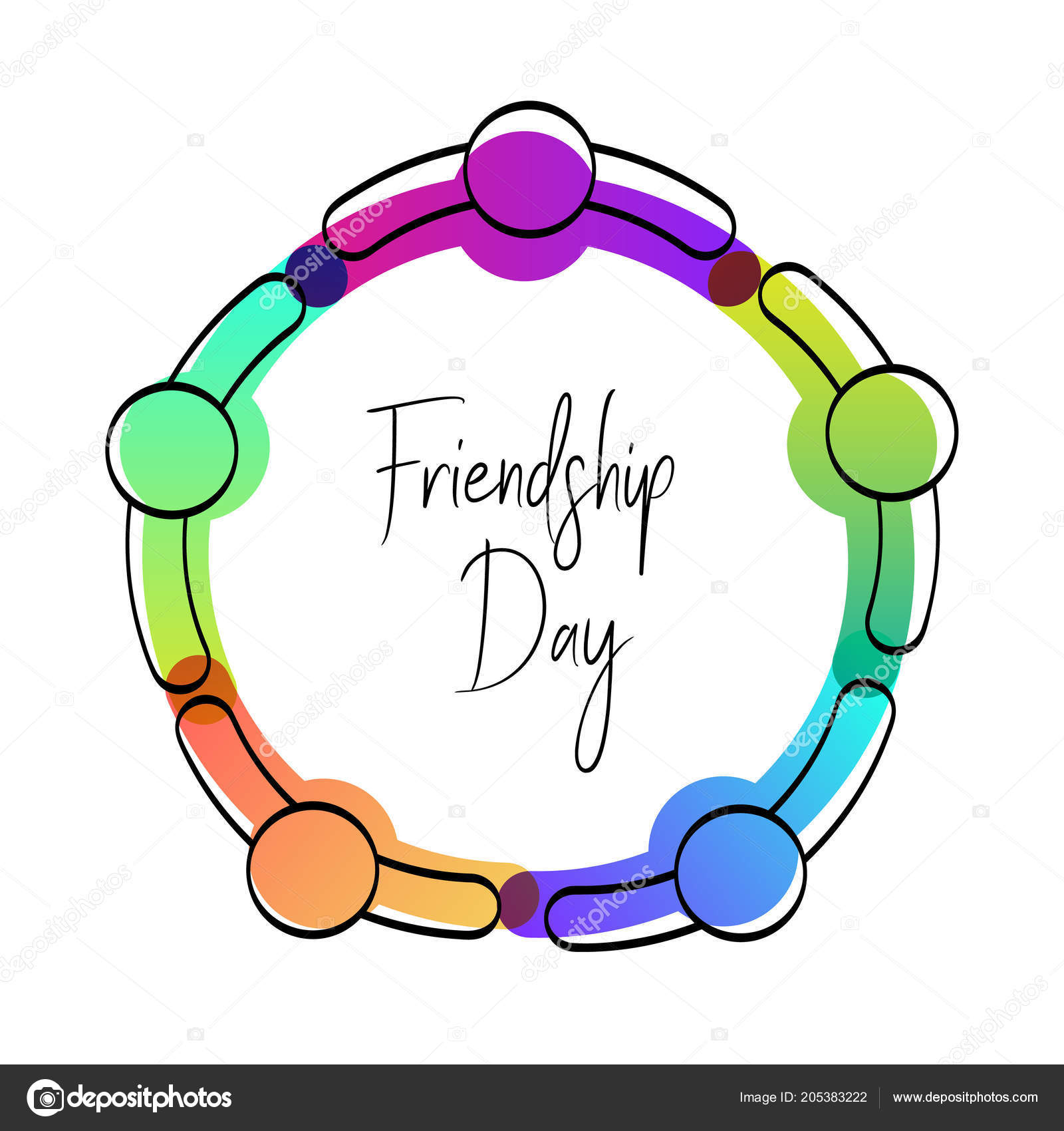 Happy friendship day greeting card friends doing group hug top happy friendship day greeting card friends doing group hug top stock vector m4hsunfo