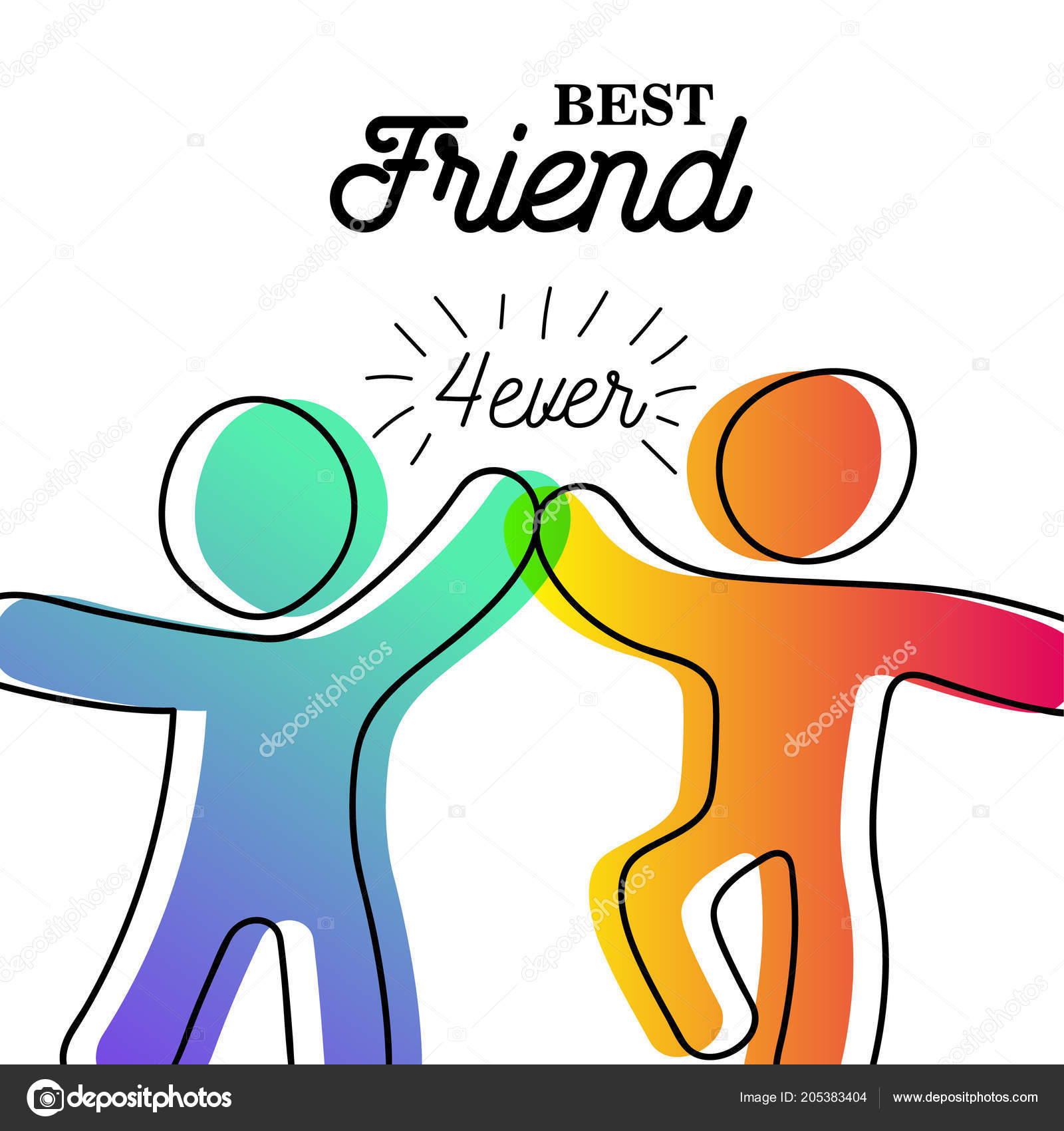 Happy Friendship Day Greeting Card Friends Doing High Five Special