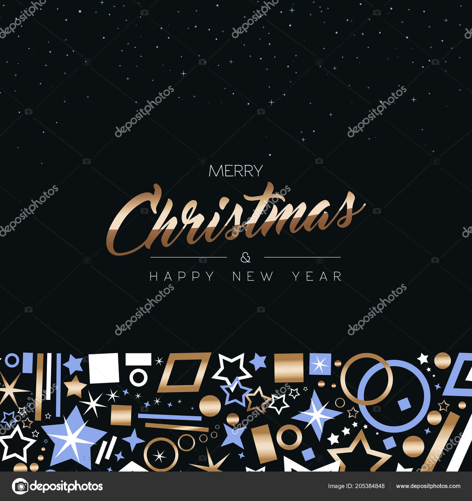 Merry Christmas Happy New Year Greeting Card Design Elegant Copper