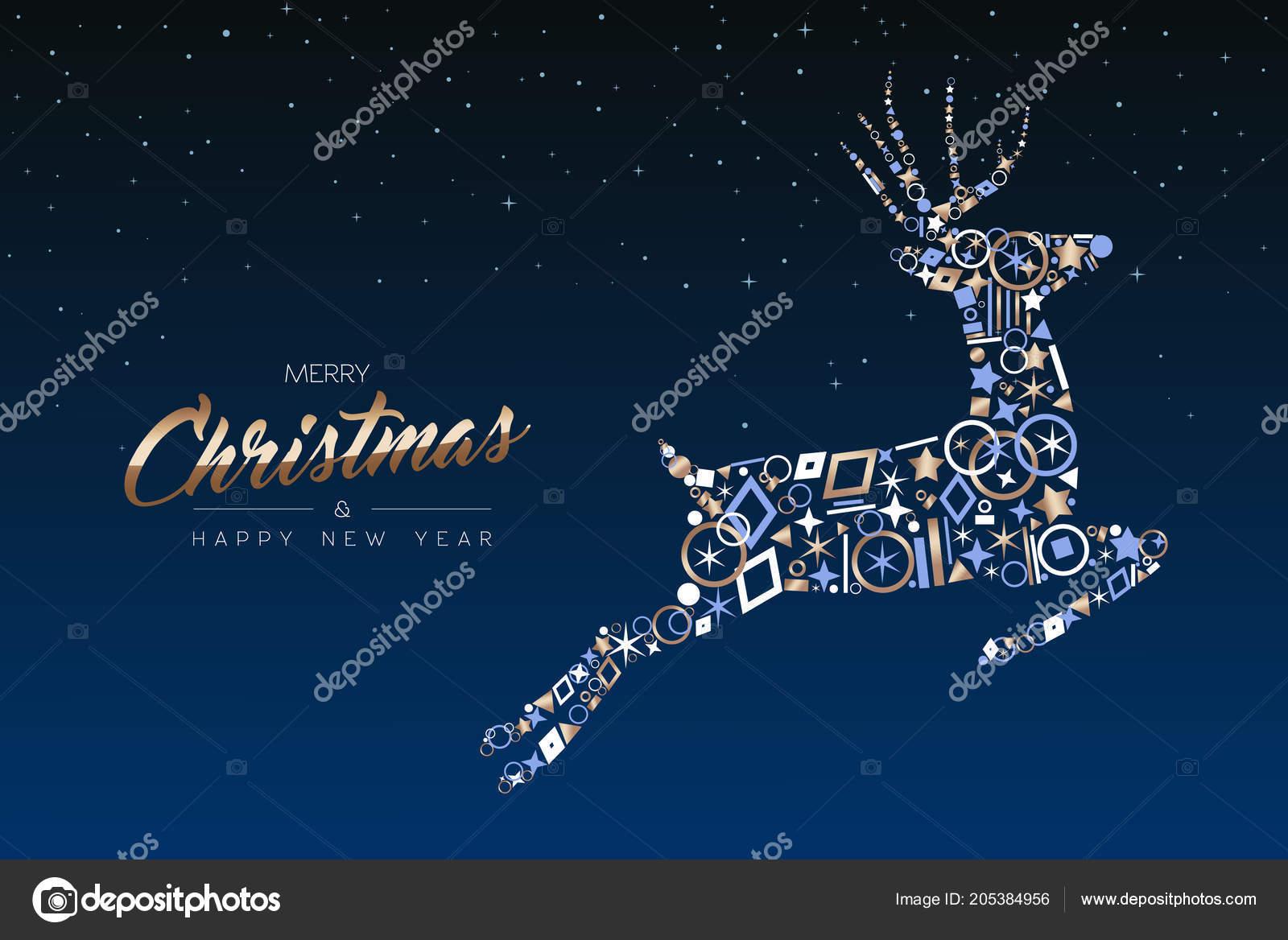 Auguri Di Buon Natale Eleganti.Cartolina Auguri Buon Natale Felice Anno Nuovo Renna Natale Elegante