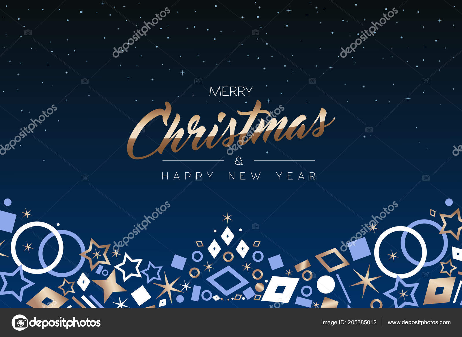 merry christmas happy new year greeting card luxury xmas icon stock vector