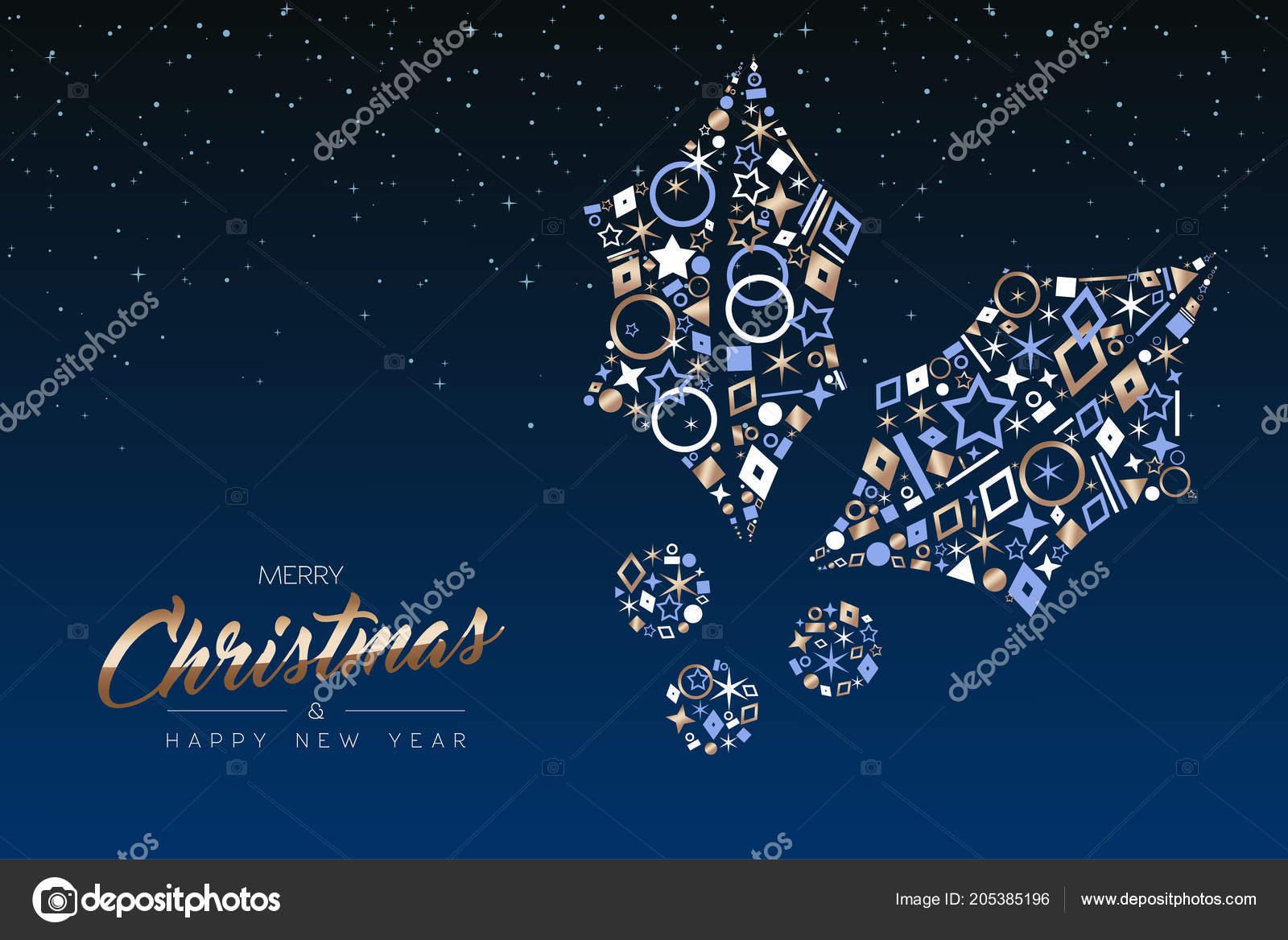 Auguri Di Buon Natale Eleganti.Cartolina Auguri Buon Natale Felice Anno Nuovo Foglia Agrifoglio