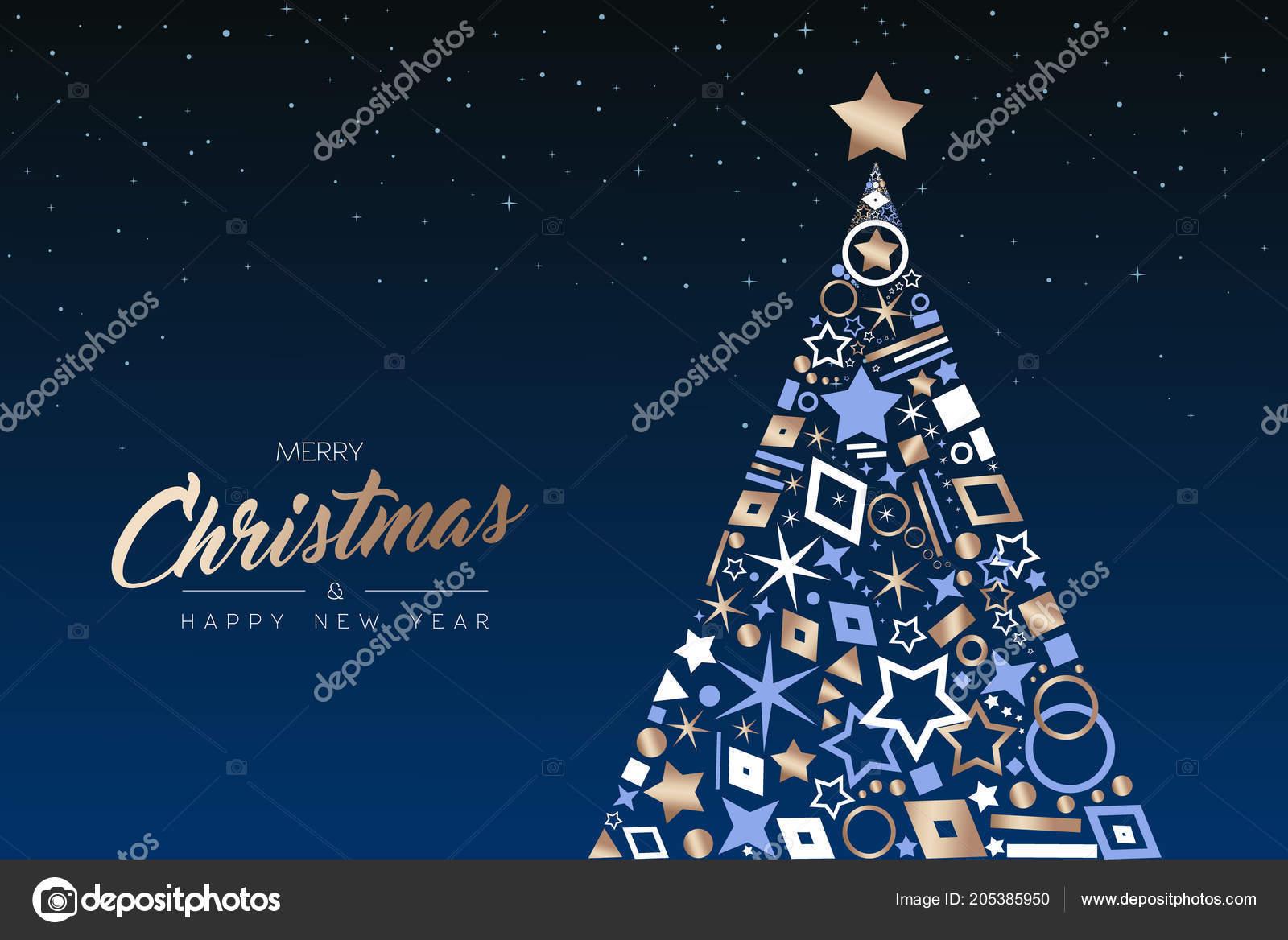 Auguri Di Buon Natale Eleganti.Cartolina Auguri Buon Natale Felice Anno Nuovo Elegante Albero Pino