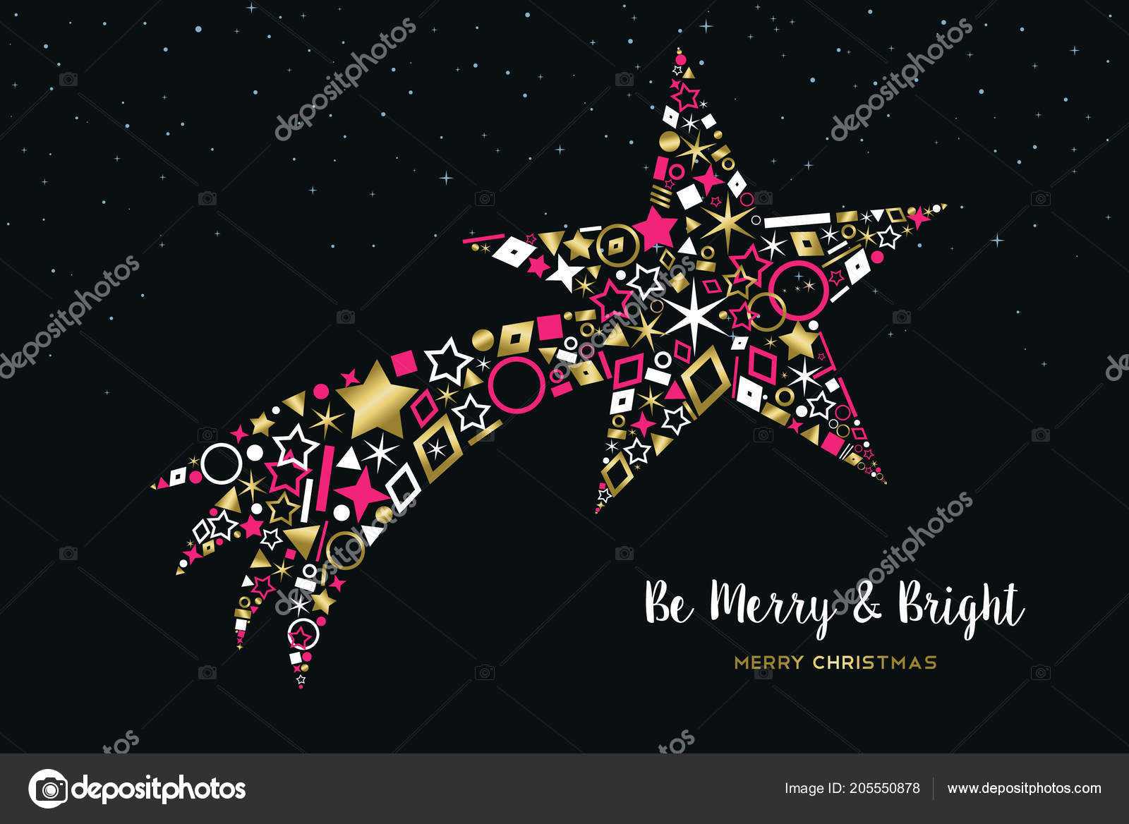 Stella Cadente Di Natale.Illustrazione Auguri Buon Natale Felice Anno Nuovo Stella