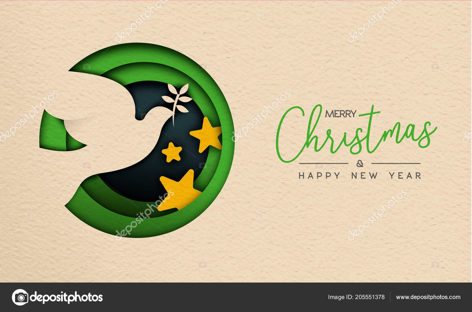 merry christmas happy new year web banner illustration paper cut stock vector