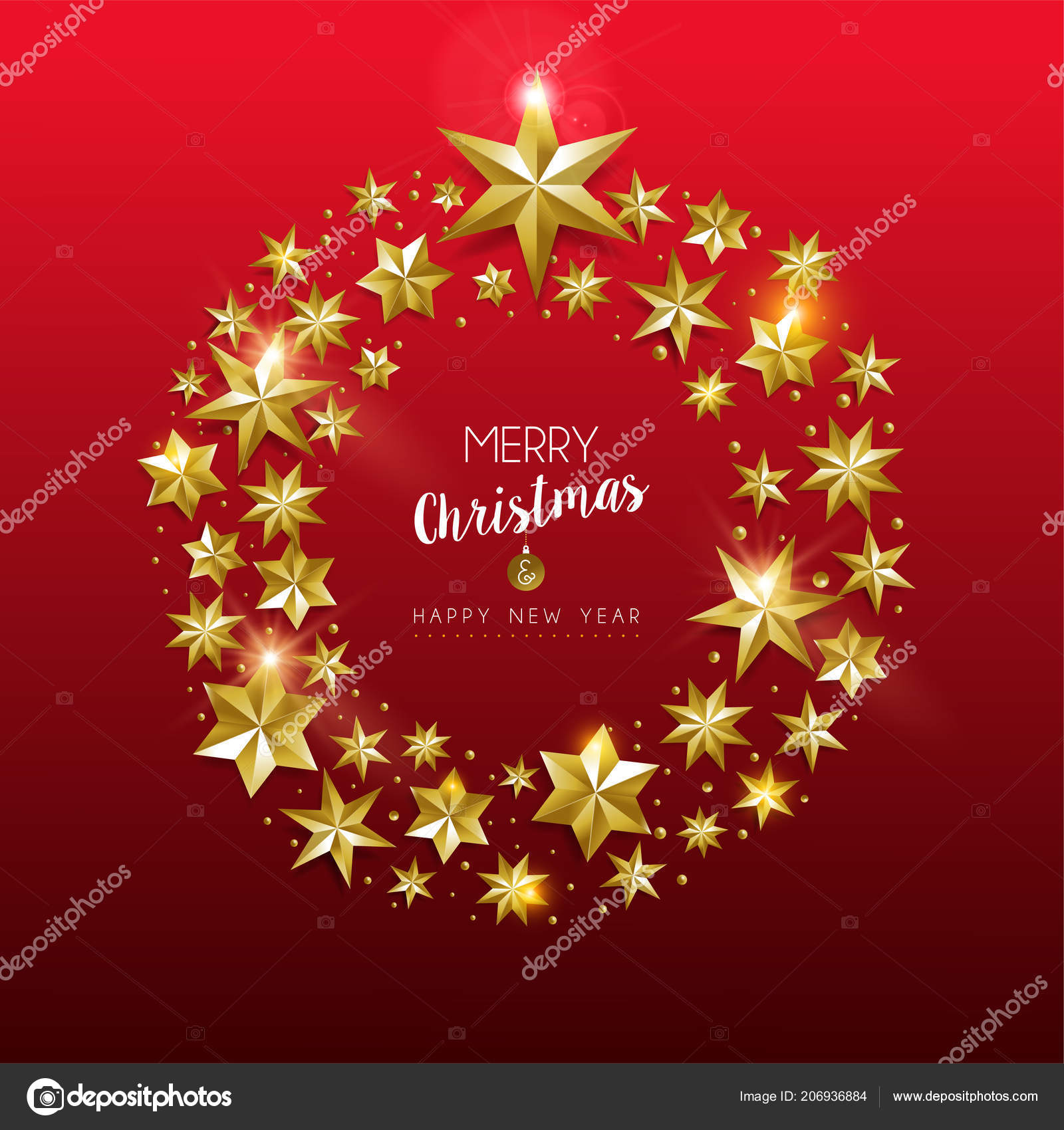 merry christmas new year greeting card with realistic gold stars and glitter making elegant holiday wreath on festive red background