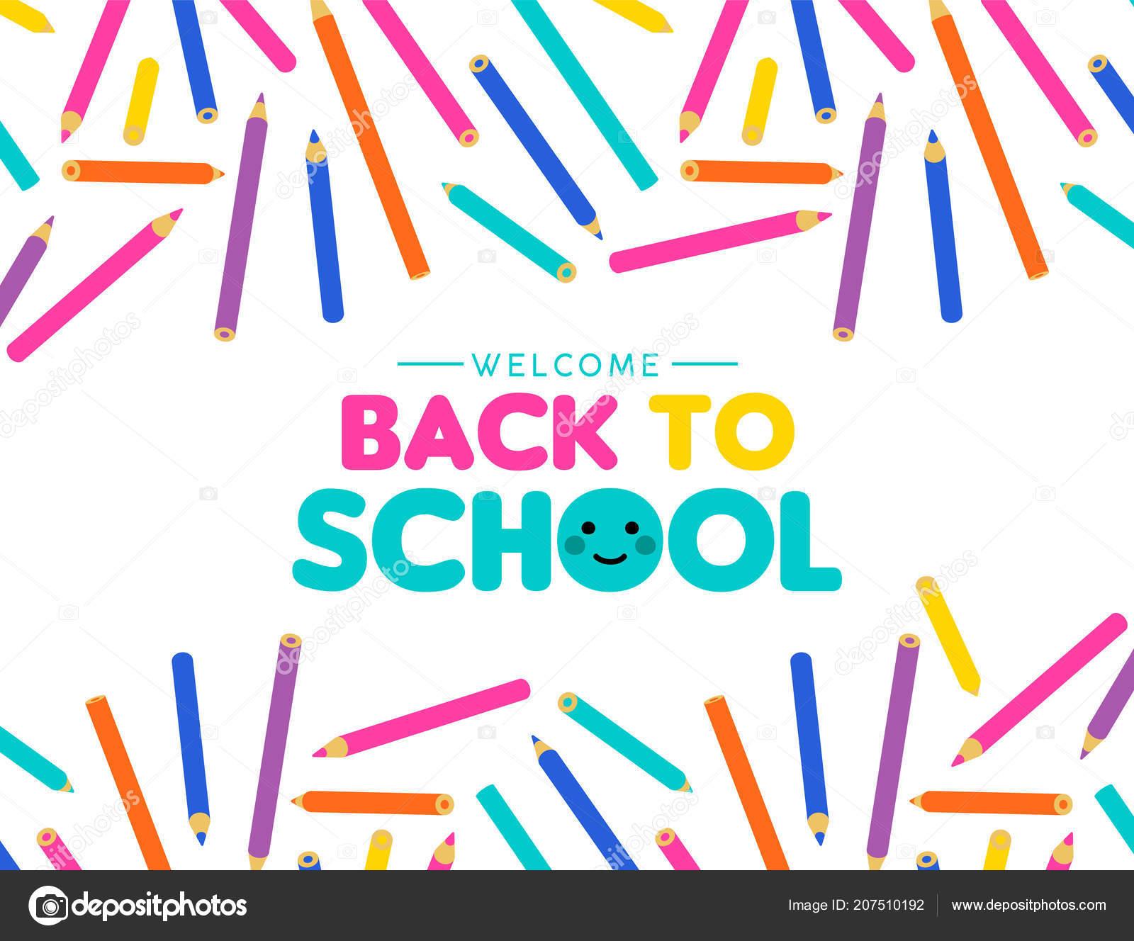 Willkommen Sie Zurück Schule Abbildung Farbenfrohe Kunst