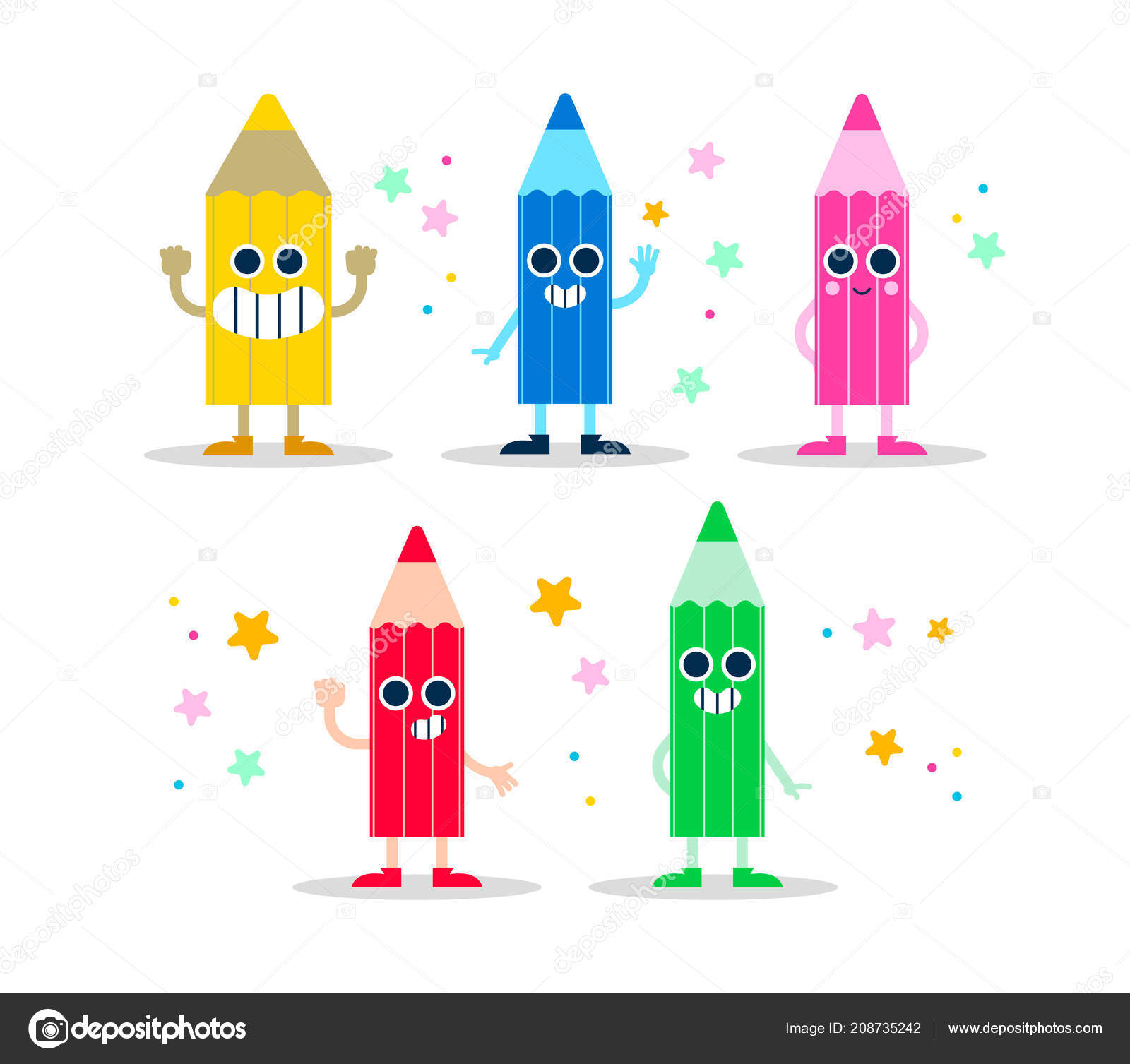 Color Pencil Character Set Template Isolated Background Funny