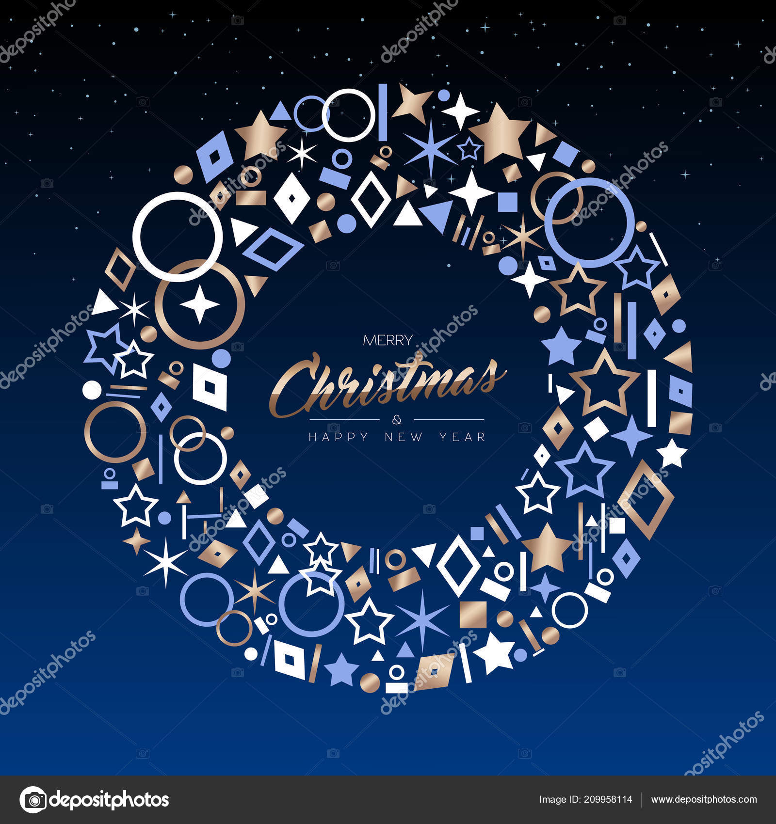 merry christmas happy new year greeting card design elegant copper stock vector