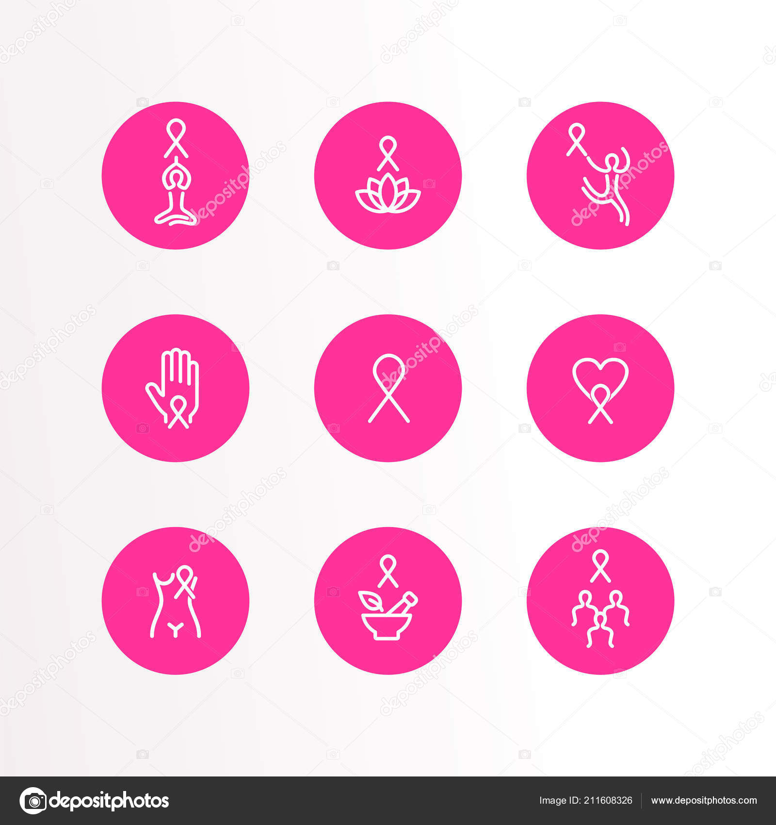Cancer Ribbon Outlines Breast Cancer Awareness Month Outline