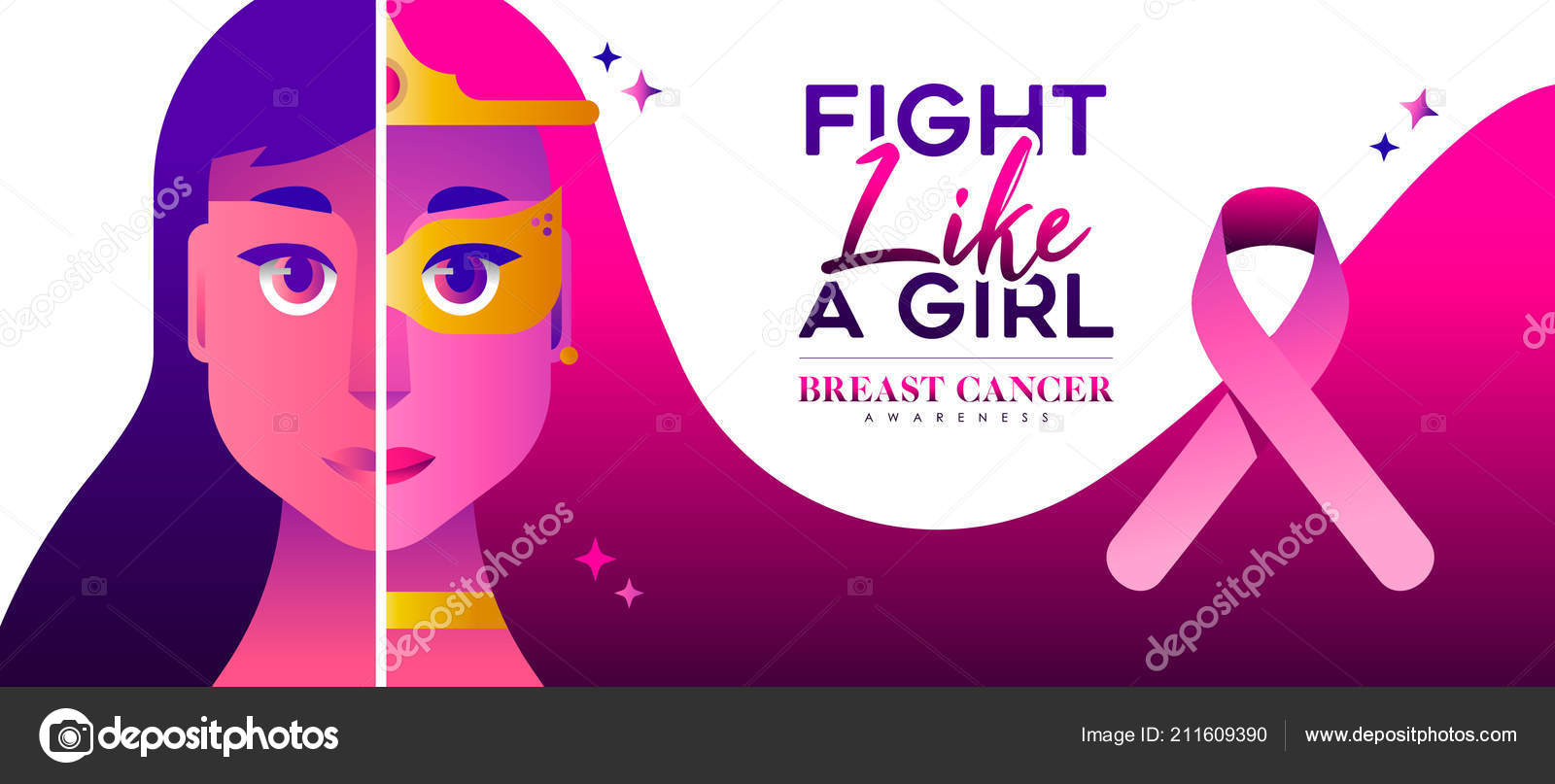 Breast Cancer Awareness Illustration Fight Girl Concept Strong Women