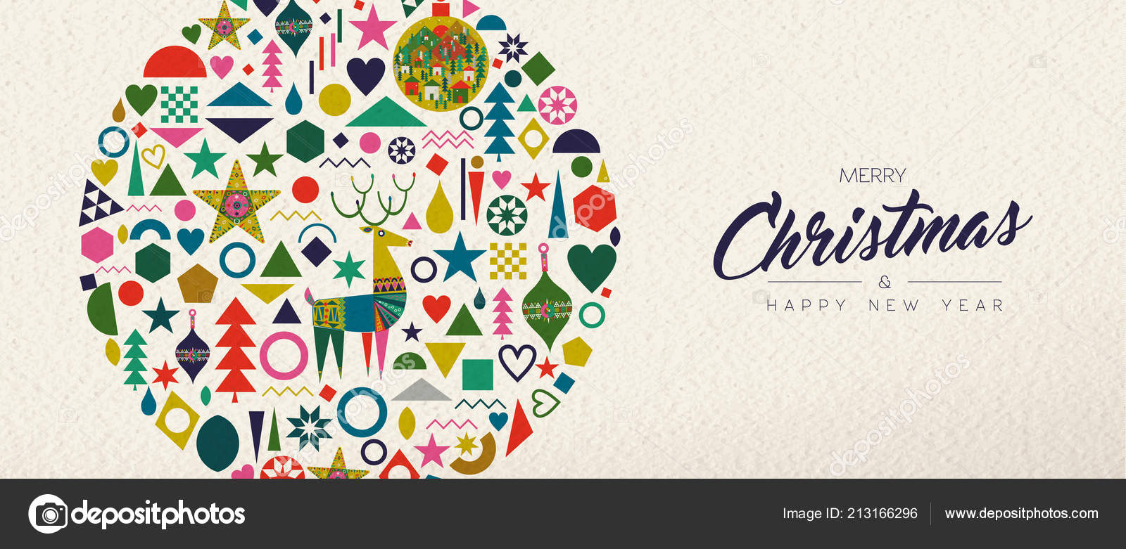 merry christmas happy new year banner illustration vintage geometric shape stock vector