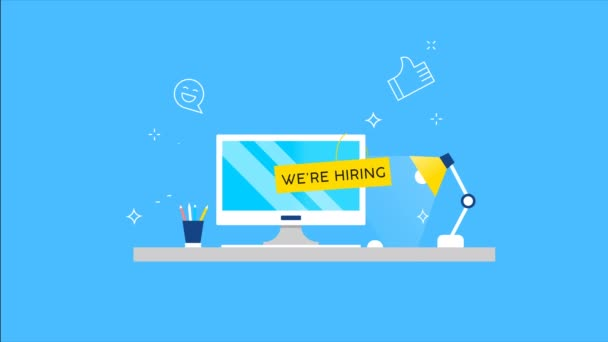 We are hiring 2d animation of business employment search. New job vacancy concept in modern flat style, work advertisement with computer desk for creative or technology career footage.