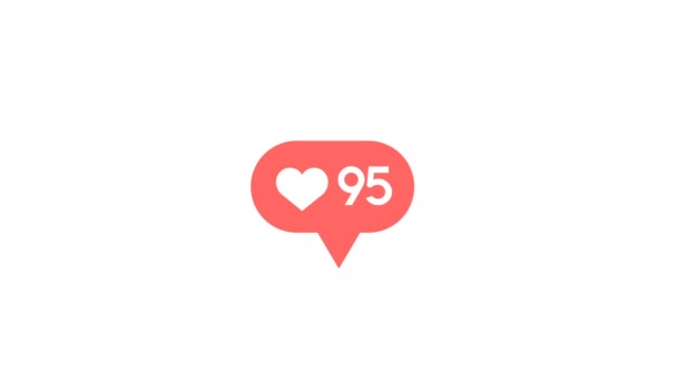 Love button counter for social network communication, internet success  2d  animation of red heart shape like icon growing, follower number or popular  post concept in 4k footage