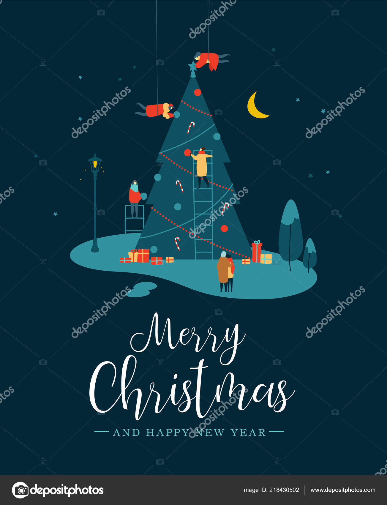 merry christmas happy new year greeting card people group making stock vector