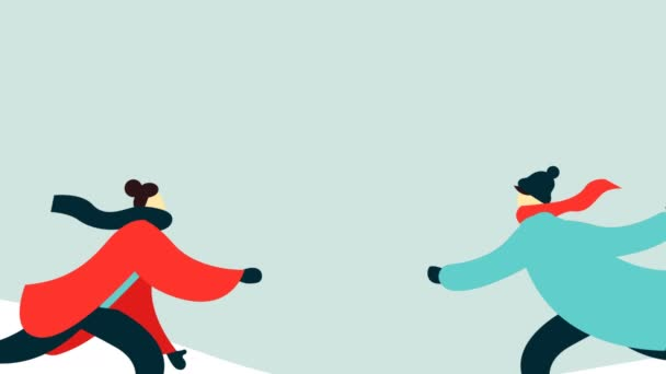 Merry Christmas And Happy New Year 2d Animation Young Man Woman Adult Couple Ice Skating On Winter Park Landscape Romantic Holiday Cartoon Greeting